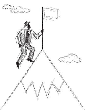 산에 깃발 심기, 산 꼭대기에 깃발을 심는 남자.