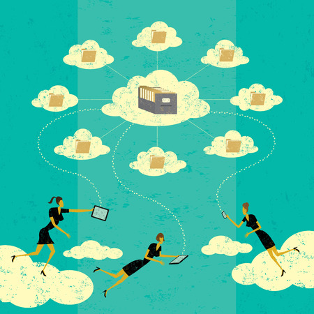 smart phone woman: Cloud computing, Businesswomen connecting to cloud storage via their mobile devices. The women and storage clouds are on a separate labeled layer from the background. Illustration