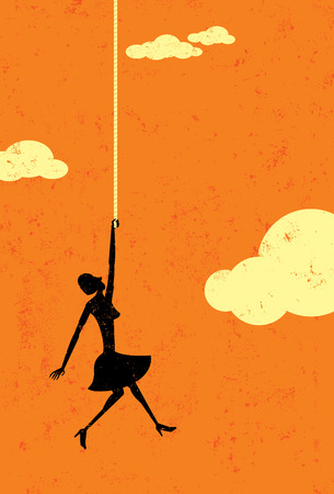End of the rope, A woman in the sky hanging on to the end of her rope. The woman and background are on separate labeled layers. Illustration