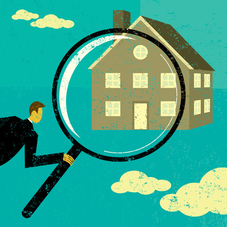 finding: Finding a Home, A man looking through a magnifying glass at a house. The man, magnifying glass, and home are on a separate labeled layer from the background.