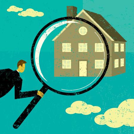 Het vinden van een huis, een man die door een vergrootglas bij een huis. De man, vergrootglas, en thuis zijn op een aparte laag label van de achtergrond.