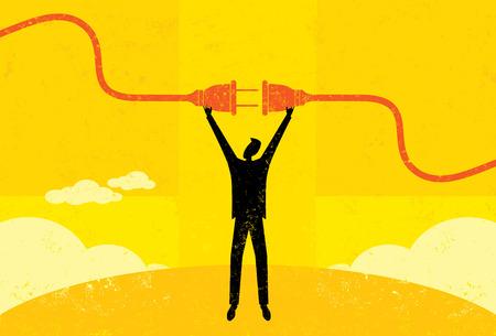 electric plug: Getting Plugged In, un uomo d'affari il collegamento di un cavo di alimentazione. L'uomo e la spina elettrica sono su un livello separato etichettato dallo sfondo.