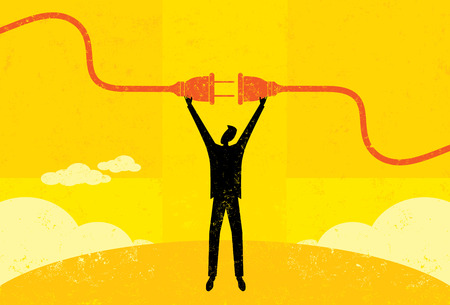 Pierwsze podłączony, biznesmen łączący przewód zasilający. Mężczyzna i wtyczki elektryczne są na osobnej warstwie z etykietą tle. Ilustracje wektorowe