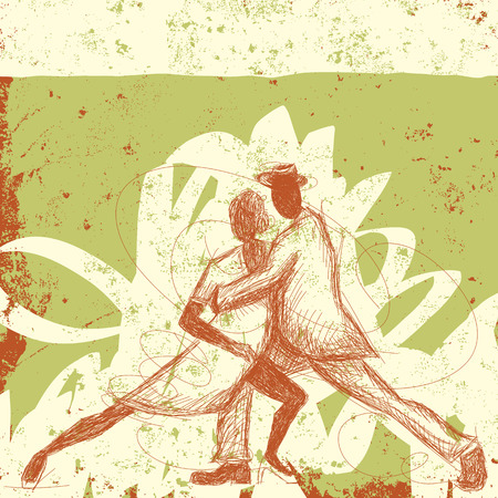 performing arts: Tango Couple, A sketchy, hand-drawn couple dancing the tango over an abstract background. Illustration