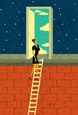 Deur naar de kansen, een zakenvrouw klimmen de corporate ladder opent een deur naar eindeloze mogelijkheden. De vrouw en de achtergrond zijn op afzonderlijk gekenmerkt lagen.