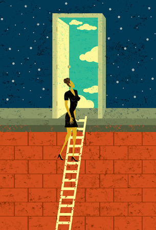 open door: Door to Opportunity, A businesswoman climbing the corporate ladder opens a door to endless possibilities. The woman and background are on separately labeled layers.