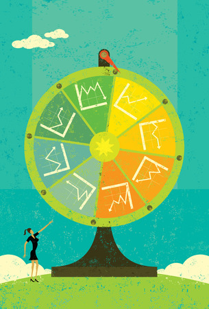 Financial Fortune Wheel, A businesswoman, uncertain of her company Illustration