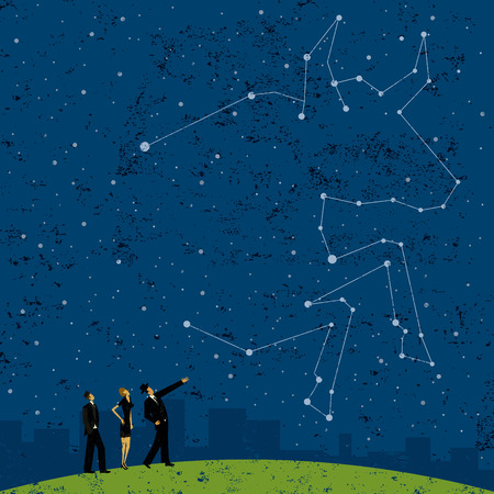 Forecasting a bull market, Business people looking at a future bull market forecast in the stars. The people are on a separate labeled layer from the background. Ilustrace