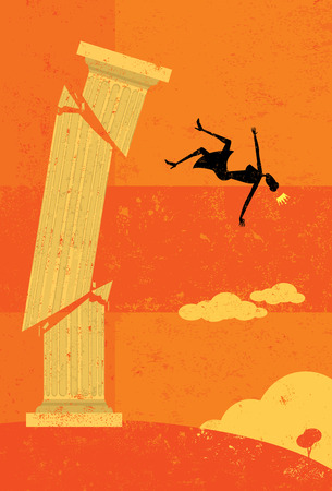 Knocked off the pedestal, A retro businesswoman falling from her high pedestal. The woman & pedestal and background are on separate labeled layers.