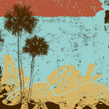 Pair of Palm Trees, A pair of palm trees over an abstract background.
