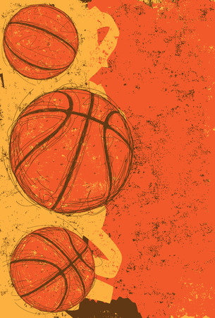 Three basketballs, Sketchy, hand drawn basketballs over an abstract background.