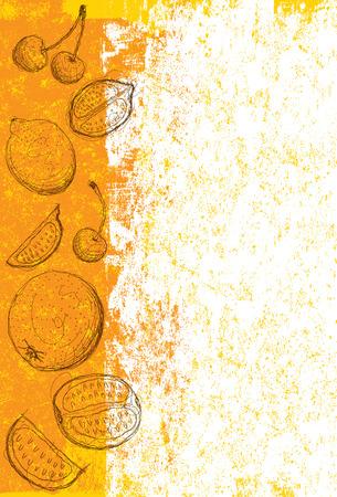 mezcla de frutas: Fondo mixto de frutas, dibujado a mano las cerezas, incompletos, naranjas, limas y sobre un fondo abstracto. La obra de arte y el fondo est�n en capas etiquetadas por separado. Vectores