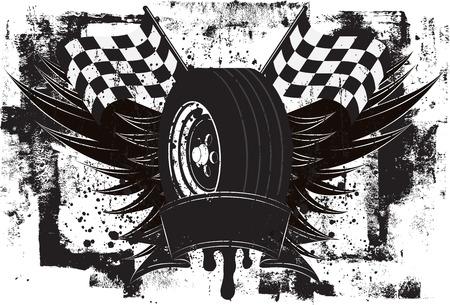 bandera carreras: Racing Alas Insignia, Un neumático de coche de carreras delante de las alas y unas banderas a cuadros sobre un fondo grunge.