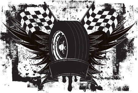 racing: Racing Wings Insignia, A race car tire in front of wings and a checkered flags over a grunge background.