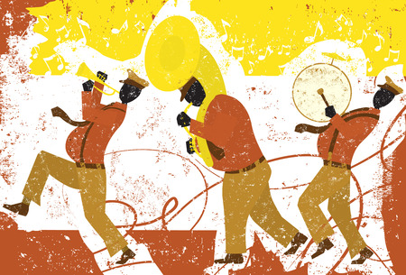 Street musicians, A walking band with a trumpet player, tuba player, and bass drum player. Illustration
