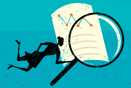 Examining Financial Data, A woman looking through a magnifying glass at a financial document over an abstract background. The woman & magnifying glass, financial document, and the background are on a separate labeled layers. Illustration