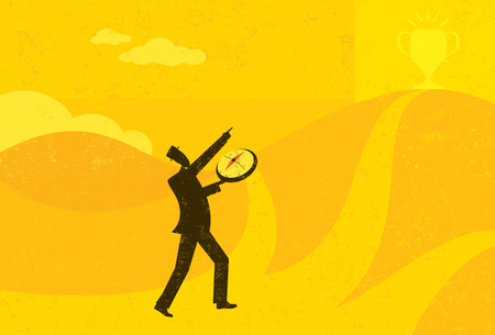 Heading in the Right Direction, A businessman using a compass to help him find the right direction to achieve his goal. The man and background are on separate labeled layers.