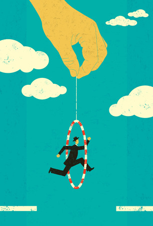 growth opportunity: Jumping through a hoop, A businessman jumping through a hoop, held by strings from a hand, to move forward. The man, hand, and hoop are on a separate labeled layer from the background. Illustration