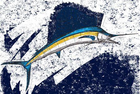 sailfish: Sailfish, A Sailfish su uno sfondo astratto. Il pesce vela e lo sfondo sono su livelli etichettati separatamente.