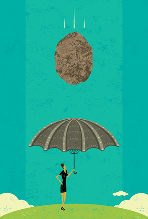 boulder: Catastrophe Protection, A businesswoman holding an ironclad umbrella, as her insurance against catastrophe, confidently stands under a massive boulder coming her way. The woman and boulder are on separate layer from the background. Illustration