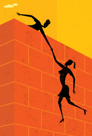 get help: Getting some help, A businesswoman helping another businesswoman get over a large wall. The women & wall and background are on separate labeled layers.
