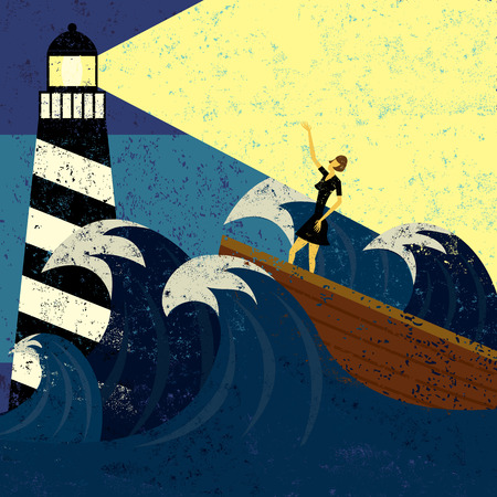 ocean storm: Guidance in Stormy Seas, A lighthouse providing guidance to a boat in a stormy sea. The lighthouse, woman & boat, and the waves are on a separate labeled layer from the background.