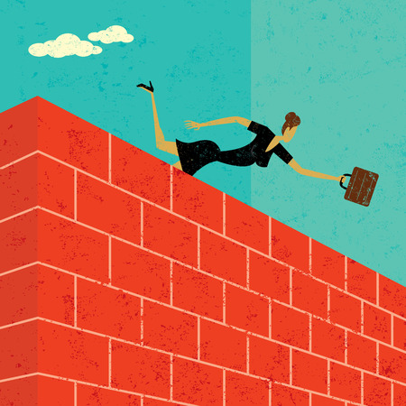 overcome a challenge: Jumping over a brick wall, A businesswoman jumping over a brick wall to achieve her goal. The woman & wall are on a separate labeled layer from the background.