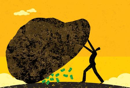 Waardoor er geen middel onbeproefd gelaten, Een zakenman laat geen middel onbeproefd gelaten om nieuwe inkomsten te vinden. De man en stenen op afzonderlijke laag van de achtergrond. Stock Illustratie