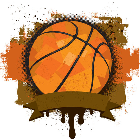 basketball: Basketball Insignia, A basketball with a text banner over a textured background.