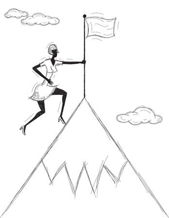 산에 깃발 심기, 산 꼭대기에 그녀의 깃발을 심는 여자. 일러스트