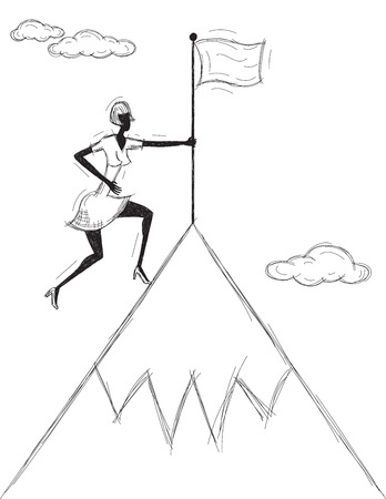 mountaintop: Planting a Flag on the Mountain, A woman planting her flag on the mountaintop.