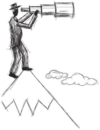 telescopic: Spyglass, Un hombre que mira hacia el futuro con un catalejo telesc�pica en una monta�a. Vectores