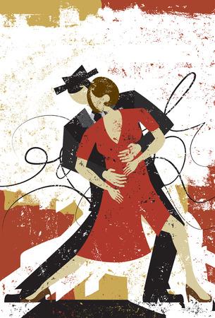 Minnaars van de Tango, een paar dansen de tango over een abstracte achtergrond.
