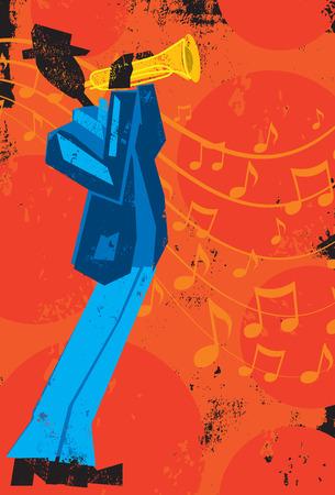 트럼펫 플레이어, 질감 된 배경 음악 노트 앞의 트럼펫 플레이어입니다. 일러스트