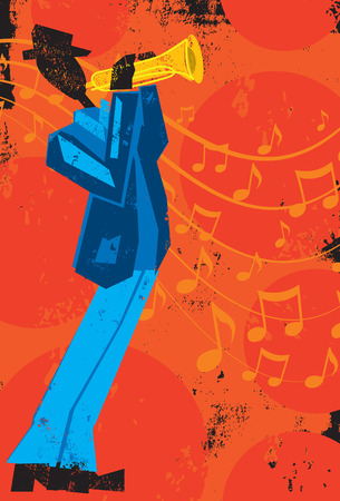 Trumpet Player, A trumpet player in front of music notes over a textured background.