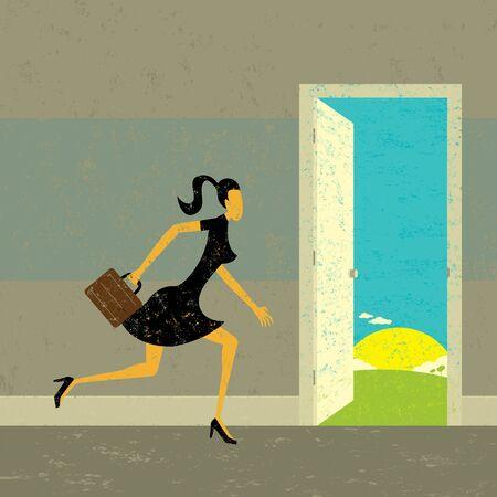abriendo puerta: Encontrar nuevas oportunidades, una mujer de negocios la partida a través de una puerta a nuevas oportunidades. La mujer y el fondo están en capas etiquetadas por separado.