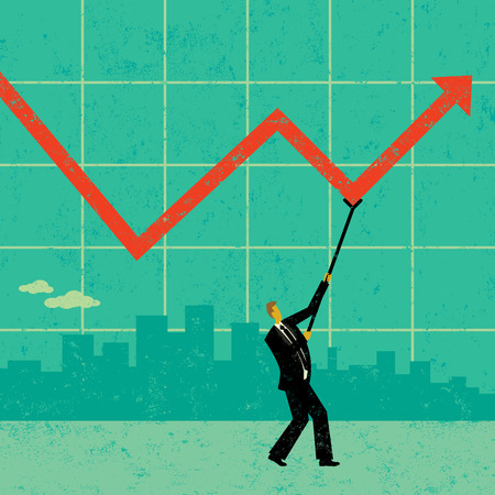 Maintaining Profits, A businessman using a crutch to hold up profits during tough economic times. The man and background are on separate labeled layers. Illustration