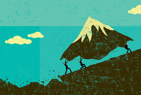 overcome: Moving Mountains, Businessmen moving a mountain uphill. The men & mountain and background are on separate labeled layers.