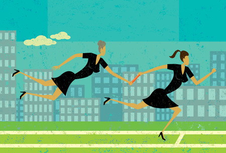 Passing the Baton, An older businesswoman passing the baton, or control, to the younger businesswoman who runs faster. The women are on a separate labeled layer from the background. Illustration