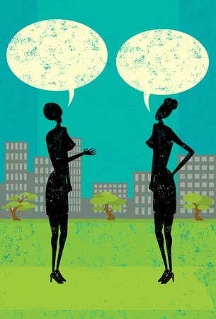 women talking: Women Talking, Two women with blank speech bubbles above their heads over an abstract city background. The people are on a separate label from the background.