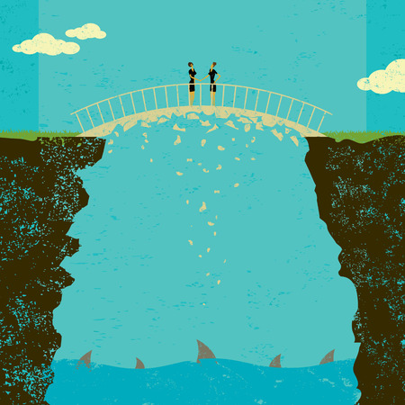 crumbling: Crumbling business agreement, Two businesswomen in a shaky business agreement. The sharks under the bridge are circling and ready to attack when the deal finally crumbles.