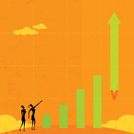 taking off: Las ganancias que sacan, Empresarias ver como ganancias literalmente despegar como un cohete. La mujer y gr�fico de barras y el fondo est�n en capas separadas etiquetadas.