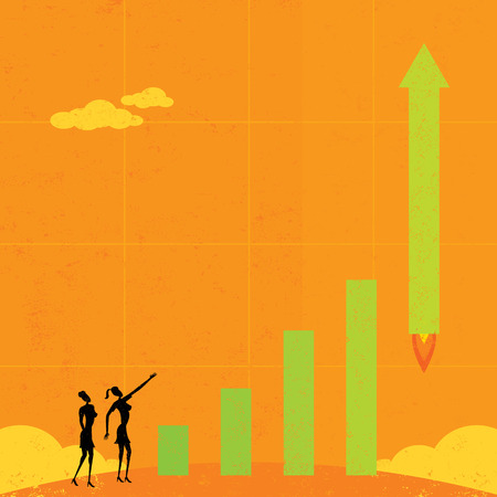 literally: Profits Taking Off, Businesswomen watch as profits literally take off like a rocket. The women & bar graph and background are on separate labeled layers.