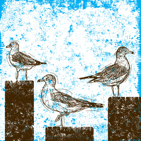 Seagulls on pilings, Sketchy seagulls standing on old pilings over an abstract background. Illustration