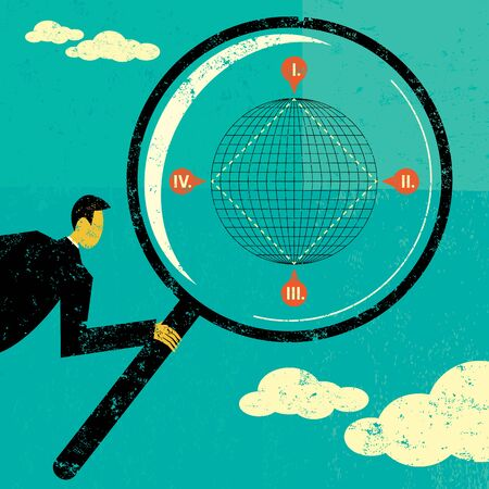 searches: Searching the Four Corners of the Earth, A businessman looking through a magnifying glass searches the four corners of the Earth. The man, magnifying glass, and globe are on a separate labeled layer from the background.