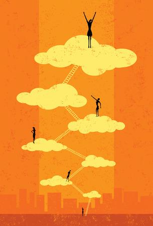 escalada: El s�ptimo cielo, empresarias exitosas que suben la escalera corporativa al s�ptimo cielo. Las personas y las escaleras est�n en una capa etiquetada separada del fondo.