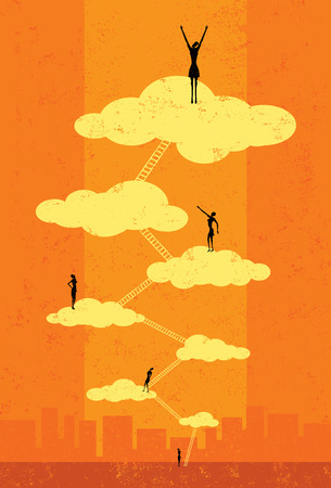 business  concepts: Seventh Heaven, Successful businesswomen climbing the corporate ladder to seventh heaven. The people and ladders are on a separate labeled layer from the background.