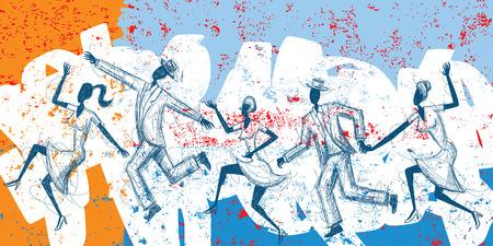 Sketchy tanzenden Menschen, von Hand gezeichnete Paare tanzen auf einem abstrakten Hintergrund. Standard-Bild - 37733096