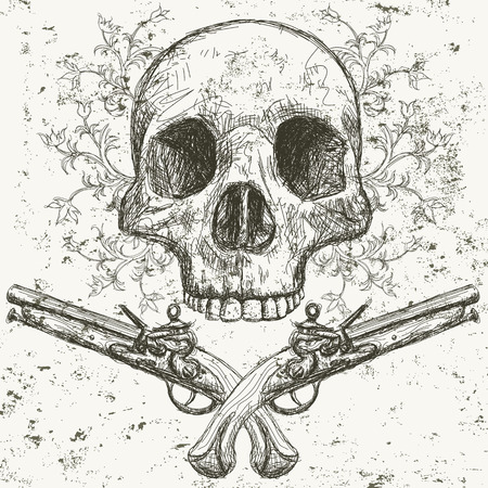 scrollwork: Skull and pistols,  hand drawn front view of human skull with pistols underneath and floral scrollwork behind it .