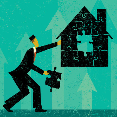 mortgage: Solving Home Mortgage Problems, Businessman putting the puzzle pieces together to find a solution to home mortgage problems. The man and house is on a separate labeled layer from the background. Illustration